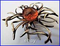 Striking Vintage RETRO Sterling Silver Scottish Thistle Amber Fur Dress Clip