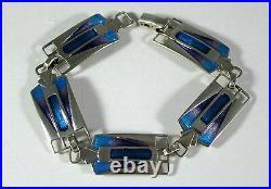 Stunning Scottish Pat Cheney Art Deco Design Silver & Enamel Bracelet 1980's
