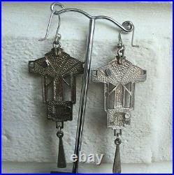 Super Scottish Art Deco Style Stg. Silver & Enamel Earrings Pat Cheney c. 1980s