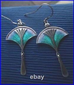 Super Scottish Art Nouveau Style Silver & Enamel Earrings Pat Cheney c. 1980s