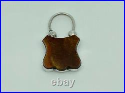 Superb Antique Victorian Scottish Sterling Silver & Agate Engraved Padlock Clasp