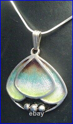 Superb Scottish Sterling Silver & Enamel Art Nouveau Pendant 1980s Pat Cheney