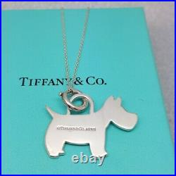 Tiffany & Co Solid Sterling Silver Scottie Scottish Terrier Dog Pendant Necklace