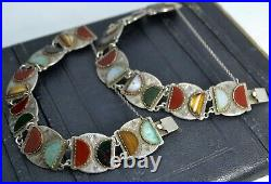 Unusual Pair of Scottish STERLING SILVER & Glass Stone BRACELETS Ward Brothers