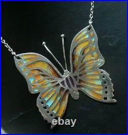 VERY LARGE Stg. Silver Enamel Scottish Butterfly Pendant h/m 1980 Norman Grant
