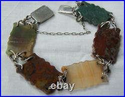 Victorian Carved Scottish Agates Silver Link Bracelet-7 1/2 Inches