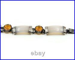Victorian Chalcedony & Paste Sterling Silver Scottish Bracelet