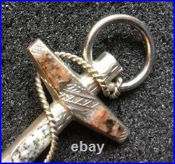 Victorian Edwardian Sterling Silver Scottish Agate Anchor Jasper Pebble Brooch