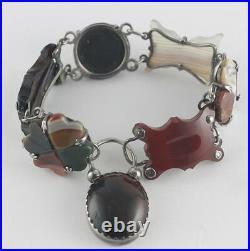 Victorian Scottish Agate Sterling Silver Link Bracelet