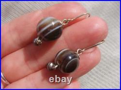Victorian Scottish Banded Agate Sphere Drop Earrings 925 Sterling Silver Hooks