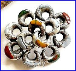 Victorian Scottish Lovers Knot Pebble Antique Brooch Sterling Multi Stone c1880
