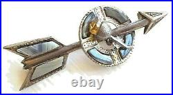 Victorian Scottish Montrose Agate Arrow Thistle Kilt Pin Sterling Paste Citrine