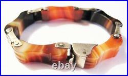 Victorian Scottish Silver Banded Agate Link Bracelet Late 1880s Sterling Pebble