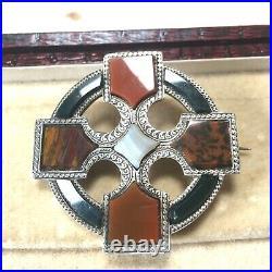 Victorian Scottish Silver Red Agate & Jasper Cross Brooch Crusiform Cloak Pin
