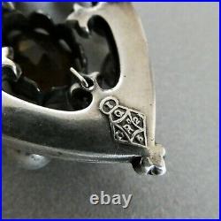Victorian Scottish Sterling Silver Cairngorm & Amethyst Crown Shield Brooch