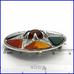 Victorian Scottish Sterling Silver Northern Star Brooch Agate & Jasper Samples