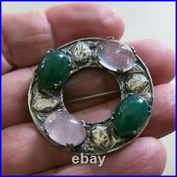 Victorian Sterling Silver Brooch Pin Scottish RA Rose Quartz & Jade 19.7g 5185