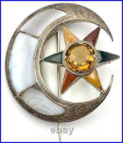 Victorian Sterling Silver Scottish Agate & Citrine Garter Moon Star Brooch Pin