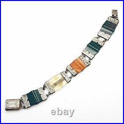 Victorian Sterling Silver Scottish Agate Sample Barcelet Bloodstone & Chalcedony