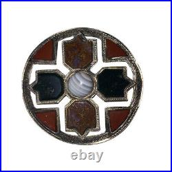 Victorian Sterling Silver Scottish Kilt Pin with Bloodstone Banded Agate