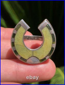 Victorian Sterling Silver Scottish Scotland Celtic Agate Horseshoe Engraved Ring