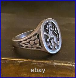 Vintage 925 Silver Scottish or Belgian Lion Rampart Ring Size 9.25