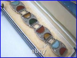 Vintage Antique Ornate Solid Sterling Silver Scottish Agate 7 Bracelet Rare