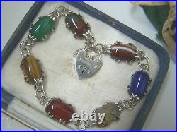 Vintage Antique Solid Sterling Silver Scottish Agate 8 Bracelet Padlock Clasp