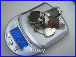 Vintage Antique Solid Sterling Silver Scottish Agate Bracelet Padlock Clasp
