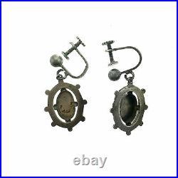 Vintage Celtic Scottish Sterling Silver Engraved Dangle Earrings