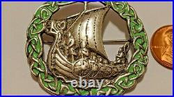 Vintage Enameled Viking Ship Sterling Silver Brooch Scottish Henderson & Horner