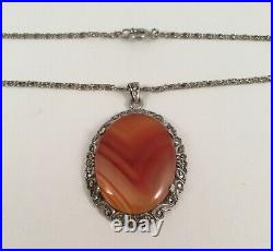 Vintage Scottish Agate Jewellery Pendant Silver Chain Necklace Antique Jewelry