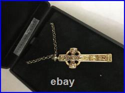 Vintage Scottish Ortak Orkney St Sterling Silver Gilt Iona Celtic Cross Pendant
