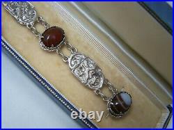 Vintage Scottish Sterling Silver Banded Lace Agate Lion Rampant 8 Bracelet Rare