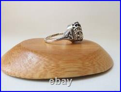 Vintage Scottish Sterling Silver & Cairngorm Unisex Ring With Runes 1979 Date Mark