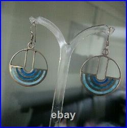Vintage Stg. Silver & Enamel Scottish Modernist Earrings h/m 1978 Norman Grant
