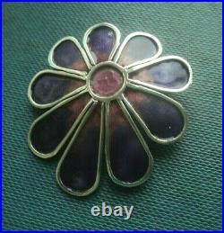 Vintage Stg. Silver Scottish Enamel Flower / Floral Brooch Norman Grant h/m 1971