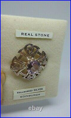 Vintage Thomas Ebbutt Sterling Silver Scottish Amethyst Brooch/Pin Hallmark