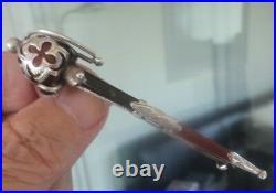 Vintage Victorian LARGE Scottish Silver Agate Sword Brooch c. 1880/90s