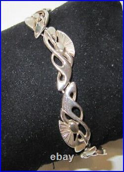 Wide Vintage 925 Sterling Silver OMG Ola Gorie Scottish Links Bracelet, SIGNED