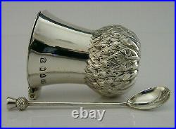 Wonderful Scottish Antique Solid Silver Thistle Mustard Pot 1922